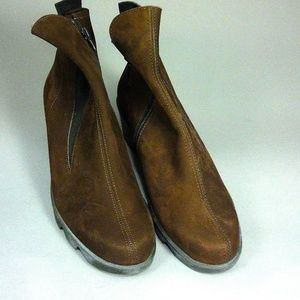 Dark Brown Nubuck French Ankle Boots, side zip